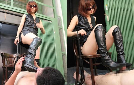 黒革ブーツandペット05 M男調教大好きカエラ女王様