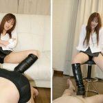 セクシー女優あずみ恋の黒革ブーツでしごかれる!